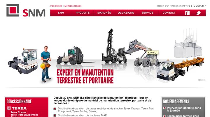 Nouveau site web SNM : matériel de manutention terrestre, de personnes et portuaire